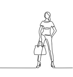 Fashion standing woman with bag vector