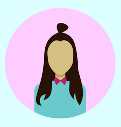 Female avatar profile icon round woman face vector
