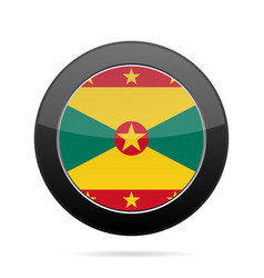 Flag of grenada shiny black round button vector