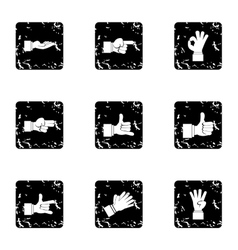 Gesture icons set grunge style vector