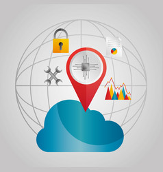 Global cloud data storage pointer tools vector