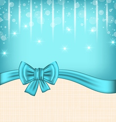Glow celebration card with gift bow vector image