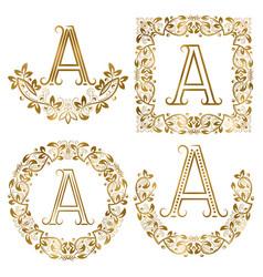 golden a letter ornamental monograms set heraldic vector image vector image