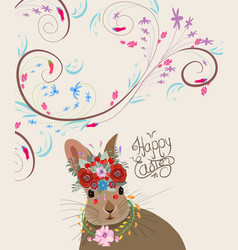 Happy easter with rabbit doodle florals vintage vector