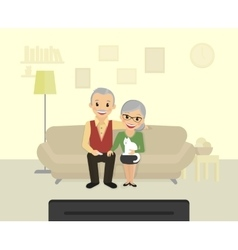 Happy grandparents sitting at home and watching a vector image vector image