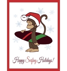 Happy surfing holidays surfer monkey vector