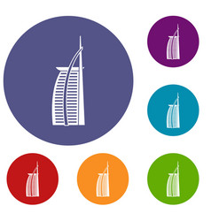 Hotel burj al arab in united arab emirates icons vector