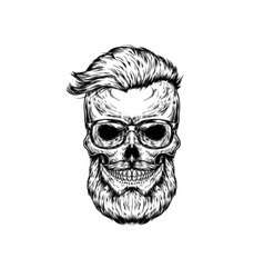 Human skull in sunglasses vector
