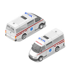 isometric 3d of ambulance car vector image vector image