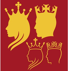 King and queen heads vector