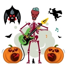 King of rock skeleton guitar player vector
