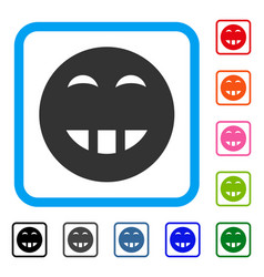 Laugth smiley framed icon vector
