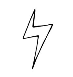 Lightning bolt doodle hand drawn vector image
