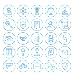 Line circle law and crime icons set vector
