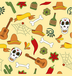 Mexico icons seamless pattern - traditional vector