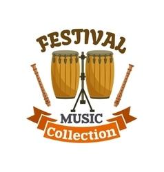 Musical drums music festival emblem vector