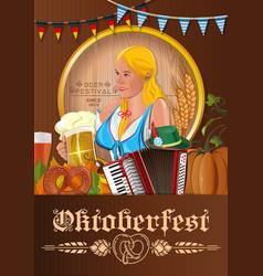 Oktoberfest poster with german cute girl vector