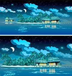 paradise islands at night vector image vector image