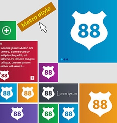 Route 88 highway icon sign metro style buttons vector