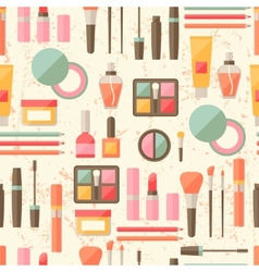 Seamless grunge background with cosmetics flat vector image