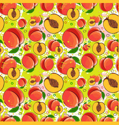 seamless pattern peach fruits summer ornament vector image vector image