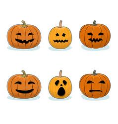 set of pumpkins halloween holiday vector image vector image