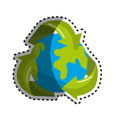 Sticker earth planet inside of recycling symbol vector