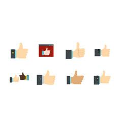 thumb up icon set flat style vector image