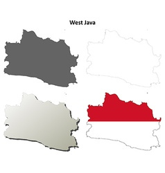 West java blank outline map set vector