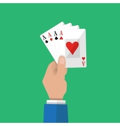 Four aces in hand gambling entertainment vector