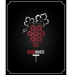 Wine grapes red and white on black background vector