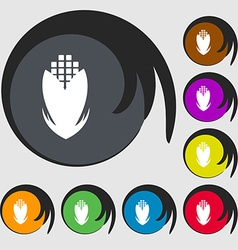 Corn icon sign symbols on eight colored buttons vector