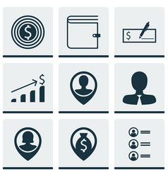 Set of 9 hr icons includes manager successful vector