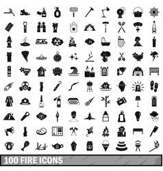 100 fire icons set simple style vector