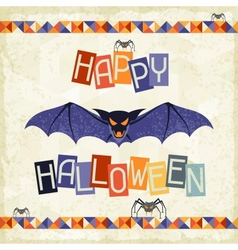 Happy halloween grungy retro background vector