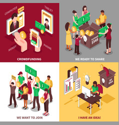 crowdfunding isometric design concept vector image