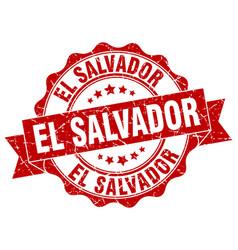 El salvador round ribbon seal vector