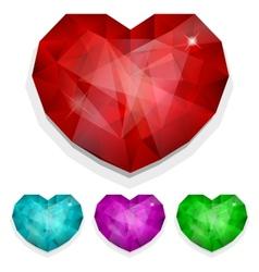 Set of gems heart vector image