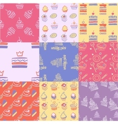 Set of seamless patterns cakes sweets cupcakes vector
