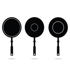 Pan set black silhouette vector