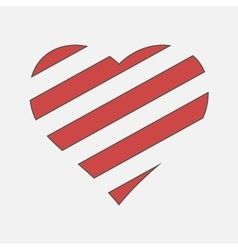 Happy valentine day striped heart vector