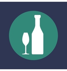 Wine bottle with cups icon vector
