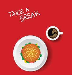 Cup of coffe with hamburger on red vector