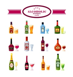 Alcoholic beverages drinks flat icons set vector