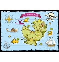 Pirate treasure color map vector