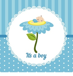 Cute baby boy card vector