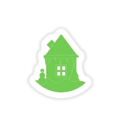 Paper sticker on white background house snowman vector