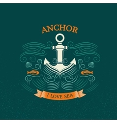 Anchor retro style vector