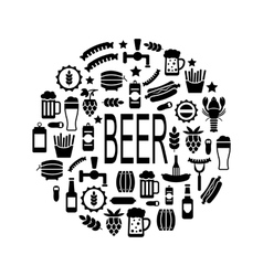 Black Icons of Beer and Snacks vector image