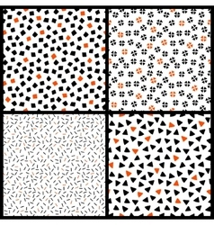 Black white and orange chaotic ethnic geometric vector image vector image